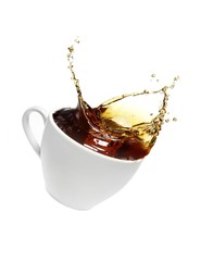 Cup of black coffee splashed against white background