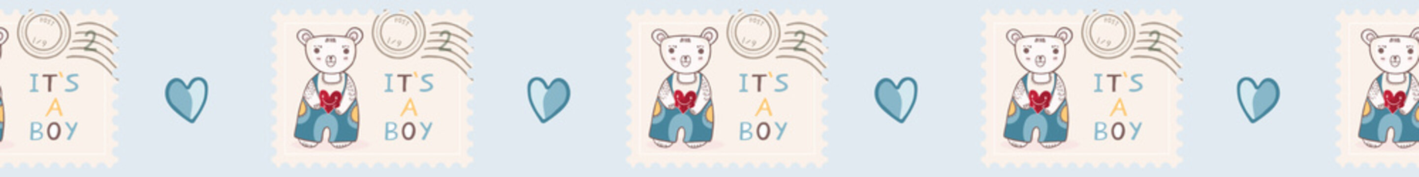 Cute it's a boy teddy bear postage stamp seamless vector border. New baby announcement in blue cartoon style. Hand drawn adorable babies shower illustration. Banner Ribbon.