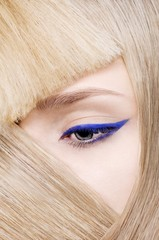 Close up of woman's eye with eyeliner makeup
