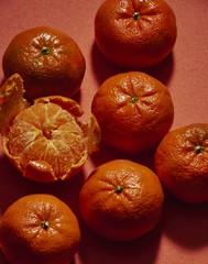 Close up of oranges on orange background