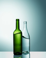 Wine bottles against blue background