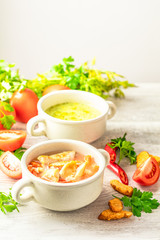 Vegetables soup with carrot, eggs and chicken, mushroom cream soup