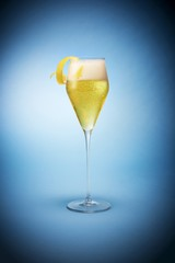 Isolated of wine glass against blue background