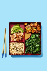 Overhead view of food served in lunch box