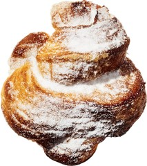 Close up of croissant with powdered sugar against white background