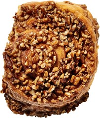 Close up of pastry with nuts against white background