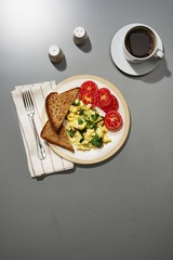 Overhead view of breakfast served on table