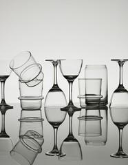 Varieties of glasses against white background