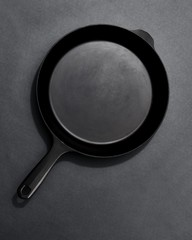 Frying pan isolated on black background