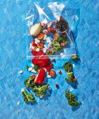Close up of vegetables over blue background