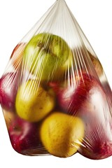 Close up of apples in plastic bag against white background