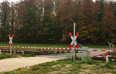 closed railway crossing at country lane