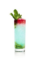 Blue Hawaii cocktail served in glass on white background