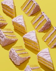 Slices of cake on yellow background