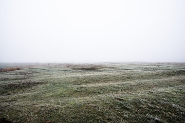 Poster Khaki Winter landscape. Misty morning field, frost and snow on the grass. Latvia