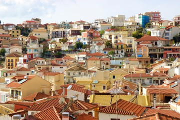 View of colorful houses and buildings at the hill of the town of Parga in Preveza Greece