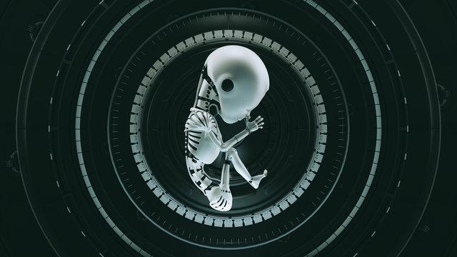 Black Futuristic Artificial Intelligence Embryo Baby 3d illustration 3d render