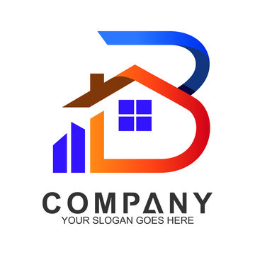 letter B logo with house shape
