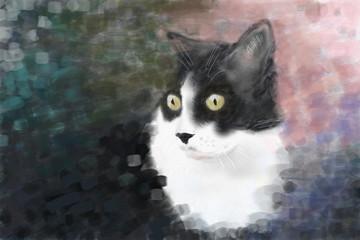 Katzen portrait gemalt