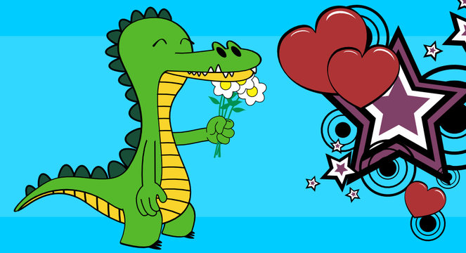 funny crocodile cartoon emotion background in vector format