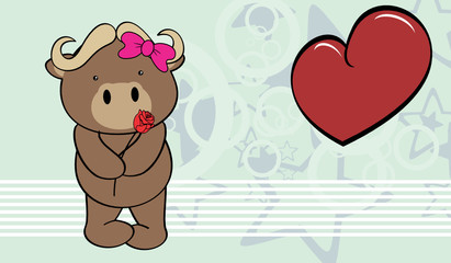 cute water buffalo girl holding a red rosse valentine background in vector format very easy to edit