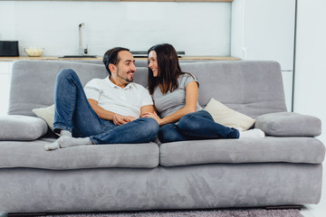woman and man on the couch