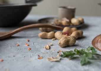 Fresh peanuts on table