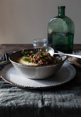 Polenta with vegetarian ragut