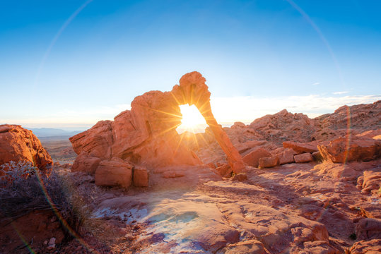 Elephant rock formation with sunrise and sunray at Valley of fire