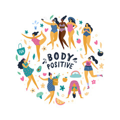 Happy body positive girls enjoy life. Attractive plus size woman doing yoga, sport, fun, love and other. Vector illustration.