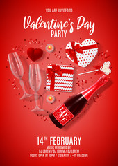 Happy Valentine's Day party poster. Vector illustration with top view on realistic bottle of champagne, gift box, glasses of champagne, red serpentine and confetti. Invitation to nightclub.