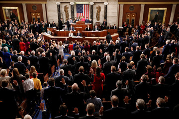 House Speaker Nancy Pelosi (D-CA) swears in members of the U.S. House of Representatives in Washington
