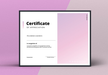 Award Certificate Layout with Pink Gradient Element
