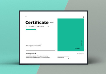 Award Certificate Layout with Green Accents
