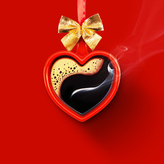 Cup in the shape of a heart. Aromatic coffee on a red background for your advertising. Valentine's Day postcard