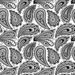 Seamless black and white paisley ornament. Print turkish cucumber. Hand-drawn pattern for textiles. Vector illustration.