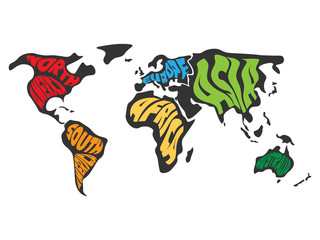 Wall Mural - World map divided into six continents. Name of each continent wrapped in. Simplified vector illustration.