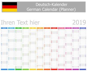2019 German Planner Calendar with Vertical Months on white background