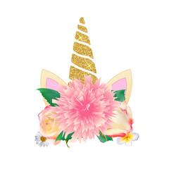 Cute unicorn head with flower. Vector Illustration
