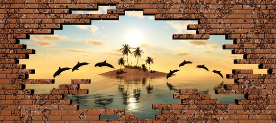 Tropical island at sunset in the breaking of a brick wall