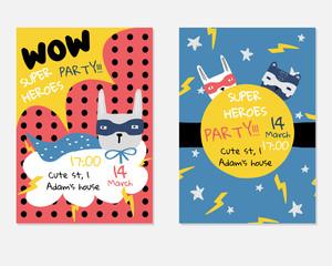 Set of cute kids superhero party invitations. Typography birthday cards. Vector hand drawn illustration.