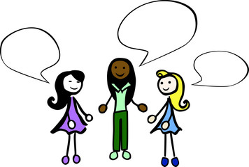 3 colorful female stick persons are talking by jziprian