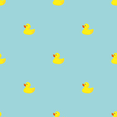 Yellow Rubber Duck Seamless Pattern