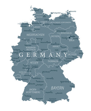 Germany Map - Grayscale - Highly detailed vector illustration
