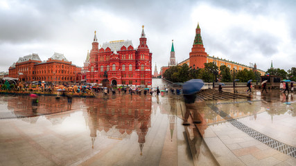 Red Square on a rainy day