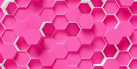 technology hexagon pattern background - 3d rendering - Illustration