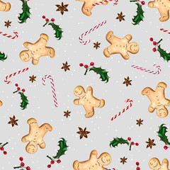 Seamless pattern with gingerbread man, candy cane, anise star and holly. Gray background with white snow dots. The illustration is drawn by hand with markers and watercolors.