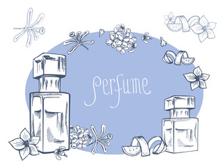 Hand drawn vector illustrations - perfume bottle and flowers. Vector design elements