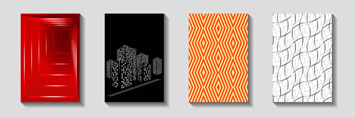 Design of Covers for Brochures. Colorful Geometric Templates with Shadow. Raster. 3D Illustration