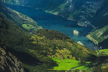 Wall Mural - Geirangerfjord and the Village